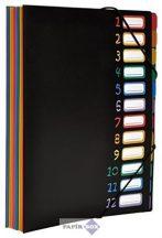 "Irattartó mappa, gumis, 12 részes, VIQUEL ""Rainbow Class"", fekete"