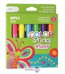 """Tempera stift készlet, toll alakú, APLI """"Kids"""", 6 különböző fluoreszkáló szín"""