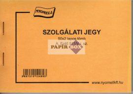 A.ERDŐ 511/V Szolgálati jegy, A/6, fekvő, 50x2 lapos