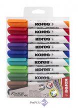 """Tábla- és flipchart marker készlet, 1-3 mm, kúpos, KORES """"K-Marker"""", 10 különböző szín"""