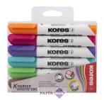 """Tábla- és flipchart marker készlet, 1-3 mm, kúpos, KORES """"K-Marker"""", 6 különböző szín"""
