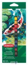 """Akrilfesték, 12 ml, DERWENT """"Academy"""", 12 különböző szín"""