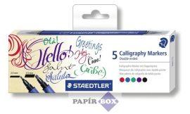 Kalligrafikus marker készlet, kétvégű, 5 különböző szín