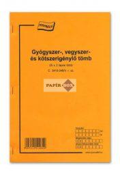 C.3410-346/V Gyógyszer-, vegyszer-, kötszerigénylő, A/4, 25x3