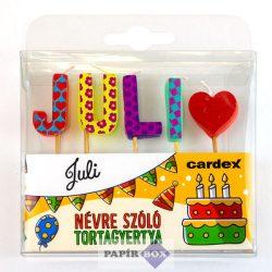 Névre szóló tortagyertya, Juli