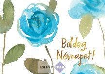 Trend képeslap, névnapos, kék rózsa