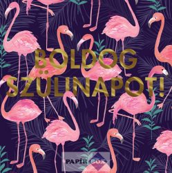 Trend képeslap, szülinapos, Flamingo