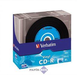 """CD-R lemez, bakelit lemez-szerű felület, AZO, 700MB, 52x, vékony tok, VERBATIM """"Vinyl"""""""