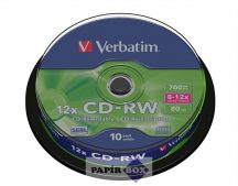 CD-RW lemez, újraírható, SERL, 700MB, 8-10x, hengeren VERBATIM, 10db/csg