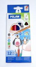Színes ceruza készlet Milan, 12db-os, háromszögletű