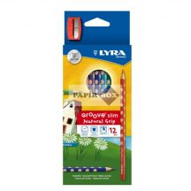 Színes ceruza készlet 12db-os, Lyra Groove Slim, háromszögletű + hegyező