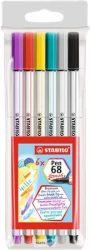 """Ecsetirón készlet, STABILO """"Pen 68 brush"""", 6 különböző szín"""