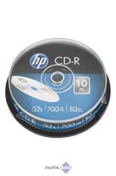 CD-R lemez, 700MB, 52x, hengeren, HP, 10db/csg