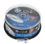 CD-R lemez, 700MB, 52x, hengeren, HP, 25db/csg