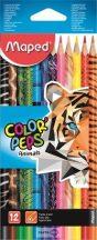 """Színes ceruza készlet, háromszögletű, MAPED """"Color'Peps Animal"""", 12db/klt"""