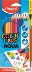"""Akvarell ceruza készlet, háromszögletű, ecsettel, MAPED """"Color'Peps"""", 12db/klt"""