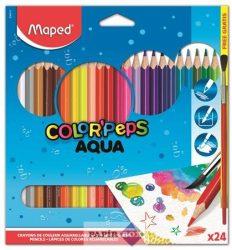 """Akvarell ceruza készlet, háromszögletű, ecsettel, MAPED """"Color Peps"""", 24db/klt"""