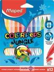 """Filctoll készlet, 2,8 mm, kimosható, MAPED """"Color'Peps Jungle"""", 12 különböző szín"""