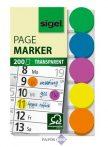 Jelölőcímke, műanyag, 5x40 lap, 50x12 mm, SIGEL, vegyes szín