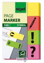 Jelölőcímke, papír, 4x40 lap, 20x50 mm, SIGEL, vegyes szín